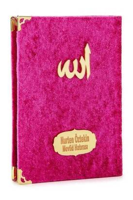 İhvan - 10 ADET - Ekonomik Kadife Kaplı Yasin Kitabı - Çanta Boy - İsim Baskılı Plaka - Fuşya - Mevlid Hediyeliği