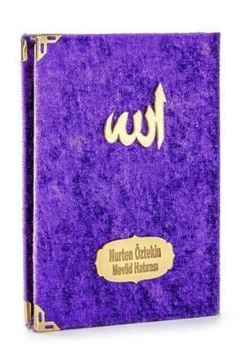 İhvan - 10 ADET - Ekonomik Kadife Kaplı Yasin Kitabı - Çanta Boy - İsim Baskılı Plaka - Mor - Mevlid Hediyeliği