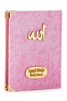 İhvan - 10 ADET - Ekonomik Kadife Kaplı Yasin Kitabı - Çanta Boy - İsim Baskılı Plaka - Pembe - Mevlid Hediyeliği