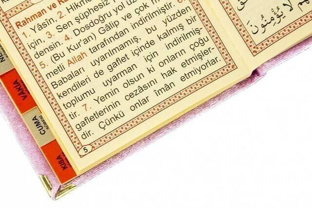 10 ADET - Ekonomik Kadife Kaplı Yasin Kitabı - Çanta Boy - İsim Baskılı Plaka - Pembe - Mevlid Hediyeliği