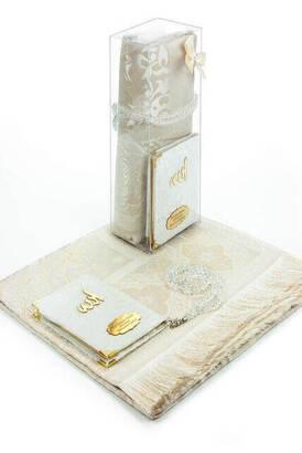 İhvan - 10 Adet Hediyelik Özel Set - Kadife Kaplı Yasin Kitabı - Cep Boy - İsme Özel Plakalı - Seccadeli - Tesbihli - Kutulu - Beyaz