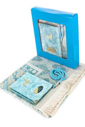 İhvan - 10 Adet Özel Hediyelik Kadife Kaplı Yasin Kitabı - Çanta Boy - İsme Özel Plakalı - Seccadeli - Tesbihli - Kutulu - Mavi
