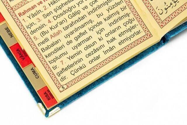 20 ADET - Ekonomik Kadife Kaplı Yasin Kitabı - Çanta Boy - İsim Baskılı Plaka - Petrol Renk - Mevlid Hediyeliği