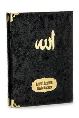 İhvan - 20 ADET - Ekonomik Kadife Kaplı Yasin Kitabı - Çanta Boy - İsim Baskılı Plaka - Siyah - Mevlid Hediyeliği