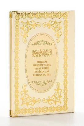 İhvan - 50 ADET - Ciltli Yasin Kitabı - İsme Özel Plakalı - Orta Boy - 176 Sayfa - Krem Renk - Mevlid Hediyeliği