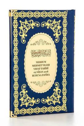 İhvan - 50 ADET - Ciltli Yasin Kitabı - İsme Özel Plakalı - Orta Boy - 176 Sayfa - Lacivert Renk - Mevlid Hediyeliği