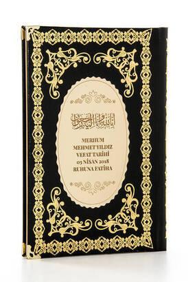 İhvan - 50 ADET - Ciltli Yasin Kitabı - İsme Özel Plakalı - Orta Boy - 176 Sayfa - Siyah - Mevlüt Hediyeliği