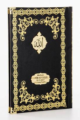 İhvan - 50 ADET - Ciltli Yasin Kitabı - İsme Özel Plakalı - Orta Boy - 176 Sayfa - Siyah Renk - Mevlüt Hediyeliği
