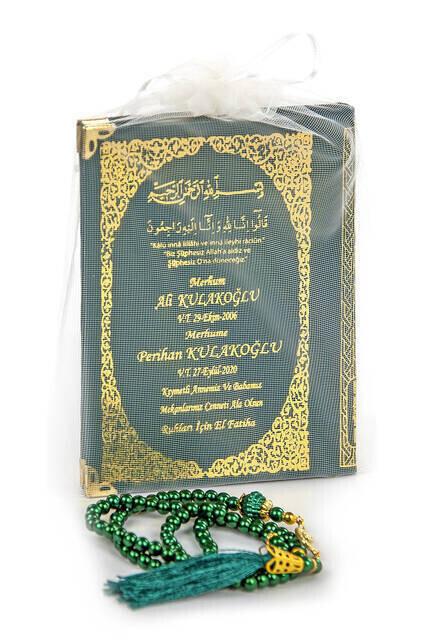 50 ADET - İsim Baskılı Ciltli Yasin Kitabı - Çanta Boy - 128 Sayfa - İnci Tesbihli - Yeşil Renk - Mevlit Hediyesi