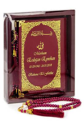 İhvan - 50 ADET - İsim Baskılı Ciltli Yasin Kitabı - Çanta Boy - 128 Sayfa - Kutulu - Vavlı İnci Tesbih - Bordo Renk - Hediyelik Set