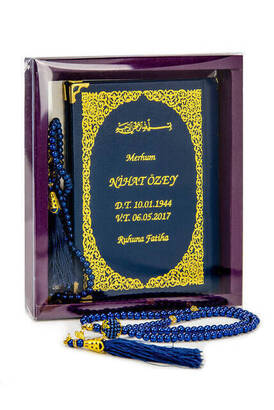 İhvan - 50 ADET - İsim Baskılı Ciltli Yasin Kitabı - Çanta Boy - 128 Sayfa - Kutulu - Vavlı İnci Tesbih - Lacivert Renk - Hediyelik Set