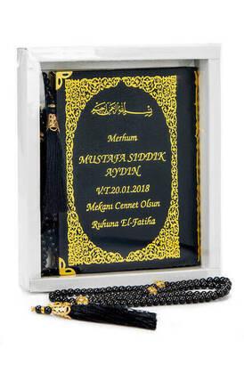 İhvan - 50 ADET - İsim Baskılı Ciltli Yasin Kitabı - Çanta Boy - 128 Sayfa - Kutulu - Vavlı İnci Tesbih - Siyah Renk - Hediyelik Set