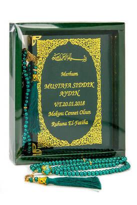 İhvan - 50 ADET - İsim Baskılı Ciltli Yasin Kitabı - Çanta Boy - 128 Sayfa - Kutulu - Vavlı İnci Tesbih - Yeşil Renk - Hediyelik Set