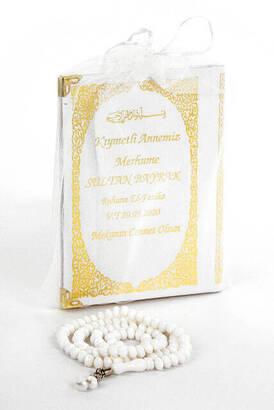 İhvan - 50 ADET - İsim Baskılı Ciltli Yasin Kitabı Çanta Boy 128 Sayfa Tesbihli Beyaz Renk Mevlit Hediyesi