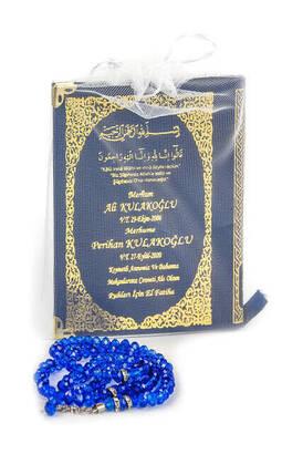 İhvan - 50 ADET - İsim Baskılı Ciltli Yasin Kitabı Çanta Boy 128 Sayfa Tesbihli Lacivert Renk Mevlit Hediyesi