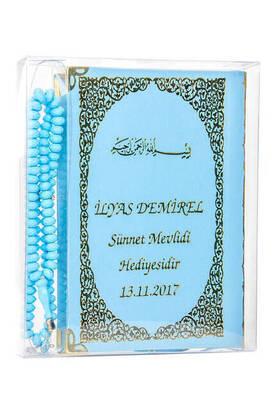 İhvan - 50 ADET - İsim Baskılı Ciltli Yasin Kitabı - Çanta Boy - 128 Sayfa - Tesbihli - Şeffaf Kutulu - Mavi Renk - Dini Hediyelik Set