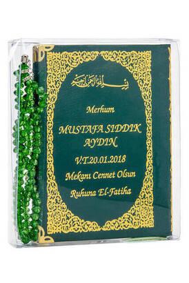 İhvan - 50 ADET - İsim Baskılı Ciltli Yasin Kitabı - Çanta Boy - 128 Sayfa - Tesbihli - Şeffaf Kutulu - Yeşil Renk - Dini Hediyelik Set