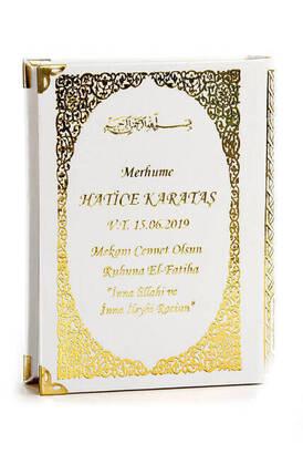 İhvan - 50 ADET - İsim Baskılı Ciltli Yasin Kitabı - Çanta Boy - 208 Sayfa - Beyaz Renk - Dini Hediyelik
