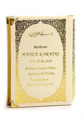 İhvan - 50 ADET - İsim Baskılı Ciltli Yasin Kitabı - Çanta Boy - 208 Sayfa - Krem Renk - Mevlit Hediyeliği