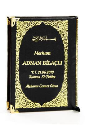 İhvan - 50 ADET - İsim Baskılı Ciltli Yasin Kitabı - Çanta Boy - 208 Sayfa - Siyah Renk - Mevlid Hediyeliği