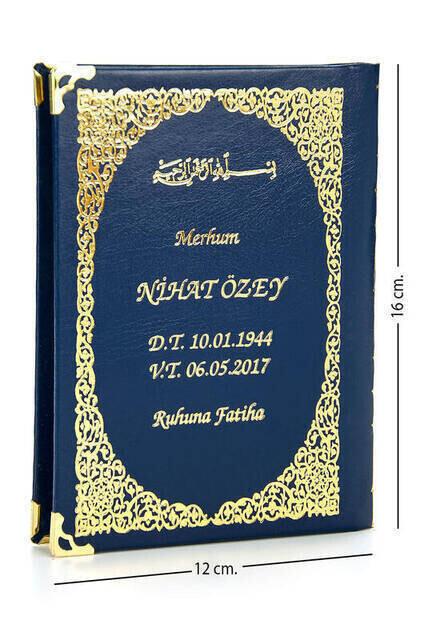 50 ADET - İsim Baskılı Ciltli Yasin Kitabı - Çanta Boy - Lacivert - 128 Sayfa - Mevlit Hediyeliği
