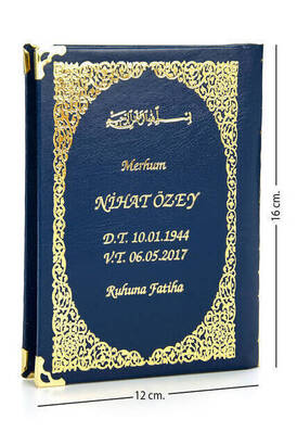 İhvan - 50 ADET - İsim Baskılı Ciltli Yasin Kitabı - Çanta Boy - Lacivert - 128 Sayfa - Mevlit Hediyeliği
