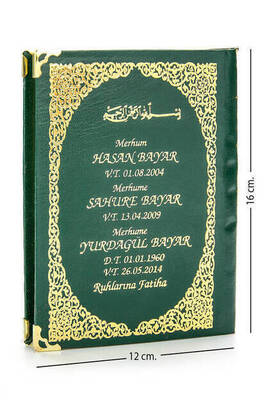 İhvan - 50 ADET - İsim Baskılı Ciltli Yasin Kitabı - Çanta Boy - Yeşil - 128 Sayfa - Mevlit Hediyeliği