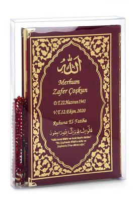 İhvan - 50 ADET - İsim Baskılı Ciltli Yasin Kitabı - Klasik Desen - Tesbihli - Şeffaf Kutulu - Orta Boy - Bordo Renk