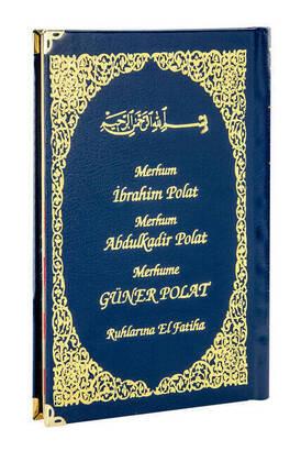 İhvan - 50 ADET - İsim Baskılı Ciltli Yasin Kitabı - Orta Boy - 128 Sayfa - Lacivert Renk - Dini Hediyelik