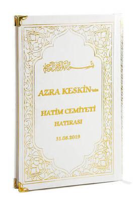 İhvan - 50 ADET - İsim Baskılı Ciltli Yasin Kitabı - Orta Boy - 176 Sayfa - Beyaz Renk - İslami Hediyelik