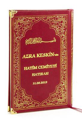 İhvan - 50 ADET - İsim Baskılı Ciltli Yasin Kitabı - Orta Boy - 176 Sayfa - Bordo - Dini Hediyelik