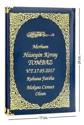 İhvan - 50 ADET - İsim Baskılı Ciltli Yasin Kitabı - Orta Boy - 176 Sayfa - Lacivert Renk - Dini Hediyelik