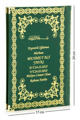 İhvan - 50 ADET - İsim Baskılı Ciltli Yasin Kitabı - Orta Boy - 176 Sayfa - Yeşil Renk - Mevlid Hediyeliği