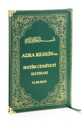 İhvan - 50 ADET - İsim Baskılı Ciltli Yasin Kitabı - Orta Boy - 176 Sayfa - Yeşil Renk - Mevlüt Hediyeliği