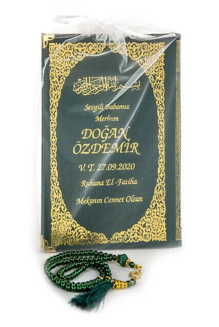 50 ADET - İsim Baskılı Ciltli Yasin Kitabı - Orta Boy - İnci Tesbihli - Tül Keseli - Yeşil Renk