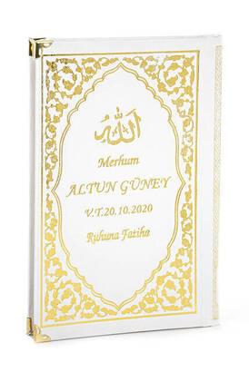 İhvan - 50 ADET - İsim Baskılı Ciltli Yasin Kitabı - Orta Boy - Klasik Desen - Beyaz Renk