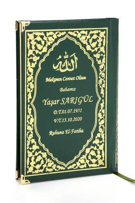 İhvan - 50 ADET - İsim Baskılı Ciltli Yasin Kitabı - Orta Boy - Klasik Desen - Yeşil Renk