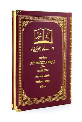 İhvan - 50 ADET - İsim Baskılı Ciltli Yasin Kitabı - Osmanlı Desenli - Orta Boy - 176 Sayfa - Bordo Renk - Dini Hediyelik