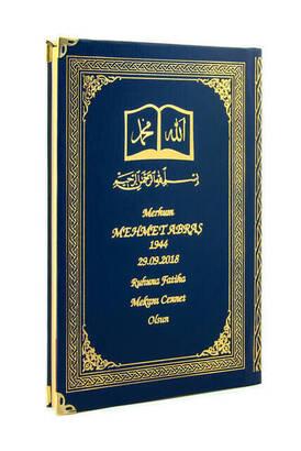 İhvan - 50 ADET - İsim Baskılı Ciltli Yasin Kitabı - Osmanlı Desenli - Orta Boy - 176 Sayfa - Lacivert Renk - Dini Hediyelik