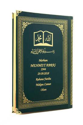 İhvan - 50 ADET - İsim Baskılı Ciltli Yasin Kitabı - Osmanlı Desenli - Orta Boy - 176 Sayfa - Yeşil Renk - Dini Hediyelik