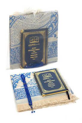İhvan - 50 ADET - İsim Baskılı Ciltli Yasin Kitabı - Seccade - Kristal Tesbih Set - Kişiye Özel Hediye