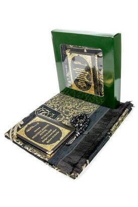 İhvan - 50 ADET - İsim Baskılı Ciltli Yasin Kitabı - Seccadeli - Tesbihli - Kutulu - Koyu Yeşil - Mevlit Hediye Seti