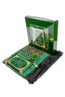 İhvan - 50 ADET - İsim Baskılı Ciltli Yasin Kitabı - Seccadeli - Tesbihli - Kutulu - Yeşil - Mevlit Hediye Seti