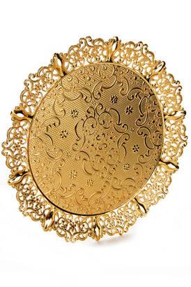 Busem Hediyelik - 6 Kişilik Selçuklu Osmanlı Desenli Yuvarlak Sunum Tepsisi Gold