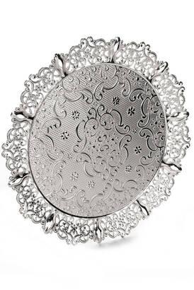 Busem Hediyelik - 6 Kişilik Selçuklu Osmanlı Desenli Yuvarlak Sunum Tepsisi Gümüş Rengi