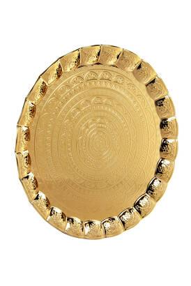 Busem Hediyelik - 6 Person Wavy Round Hair Tray Gold