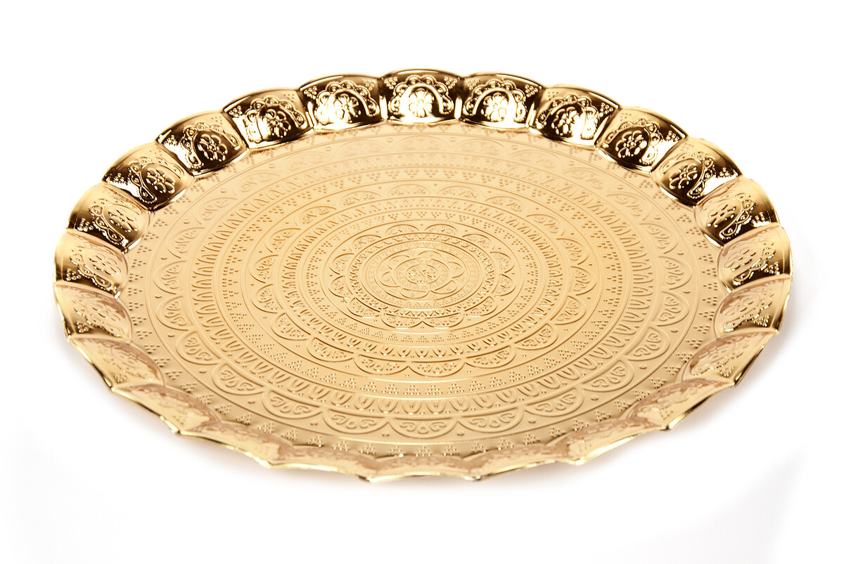 6 Person Wavy Round Hair Tray Gold