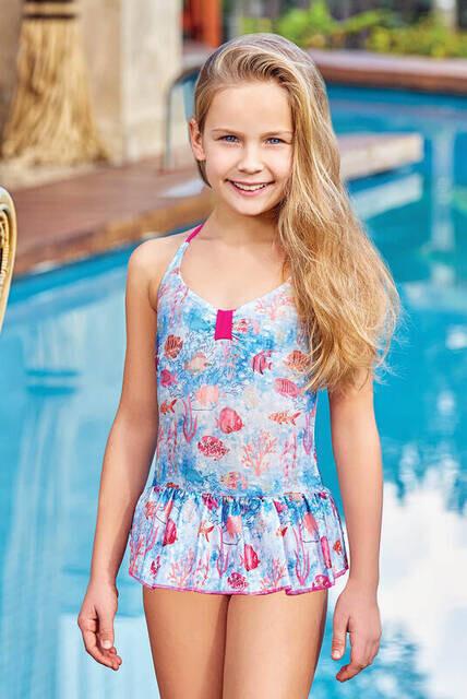Adasea 5041-18 Turkuaz Çocuk Elbise Mayo