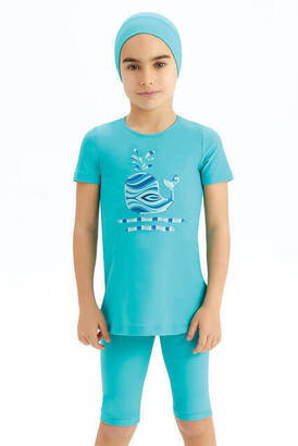 Adasea - Adasea 5-14 Years Old Girl Short Sleeve Half Covered Swimsuit 5150-20 - Mint