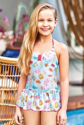 Adasea - Adasea 5041-18 Blue Kids Dress Swimsuit